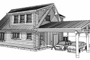 Log Style House Plan - 2 Beds 2 Baths 1394 Sq/Ft Plan #451-11 Exterior - Rear Elevation