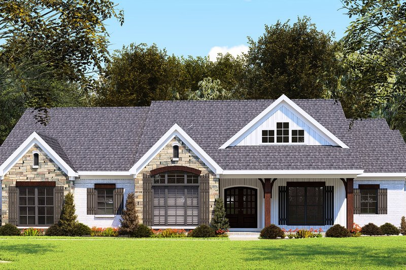 Farmhouse Style House Plan - 3 Beds 2.5 Baths 2112 Sq/Ft Plan #923-155 Exterior - Front Elevation