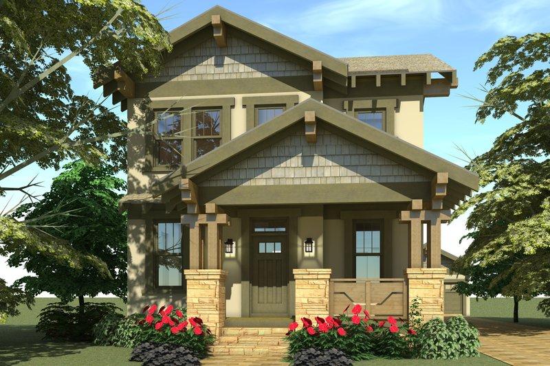 Craftsman Exterior - Front Elevation Plan #64-224