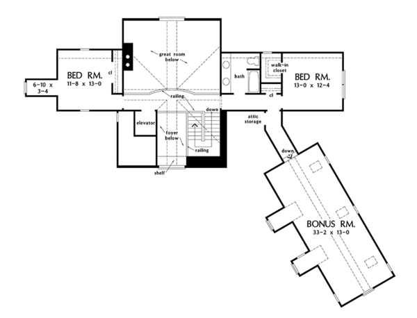 Craftsman Floor Plan - Upper Floor Plan Plan #929-974