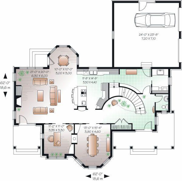 European Floor Plan - Main Floor Plan Plan #23-844