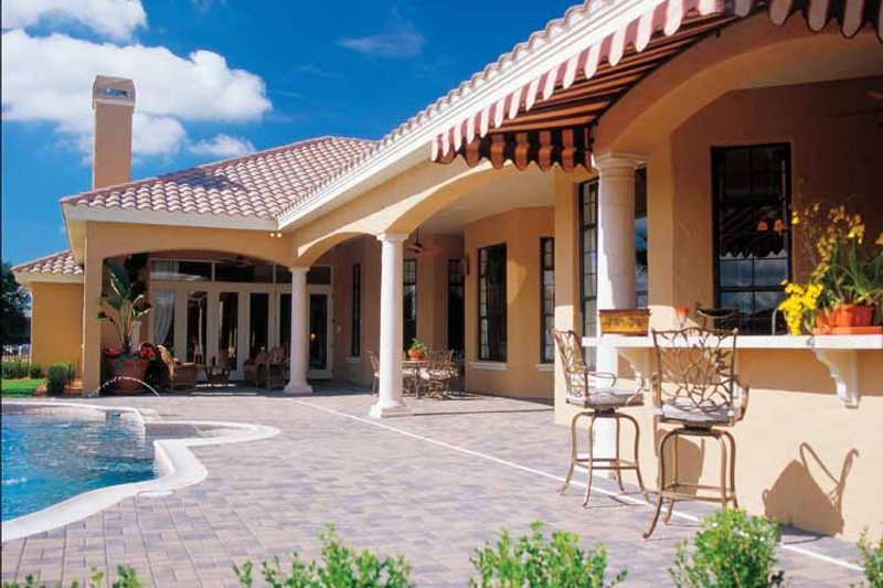 Mediterranean Exterior - Rear Elevation Plan #417-566 - Houseplans.com