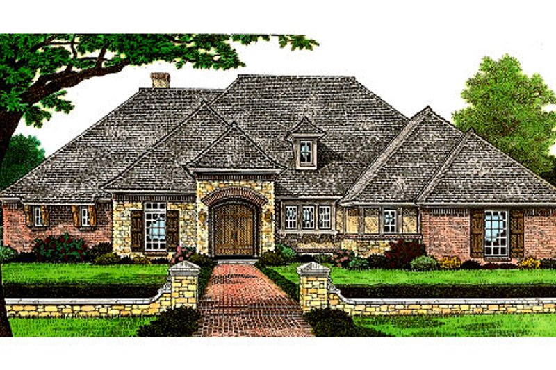 European Style House Plan - 3 Beds 4 Baths 2408 Sq/Ft Plan #310-661 Exterior - Front Elevation
