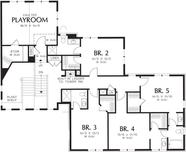 Mediterranean Floor Plan - Upper Floor Plan Plan #48-361