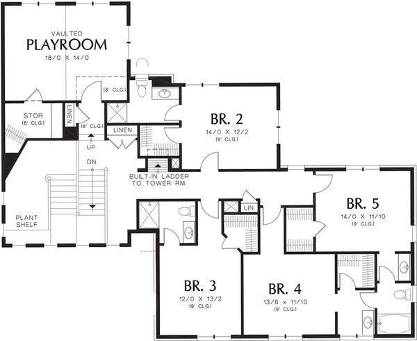 Home Plan - Mediterranean Floor Plan - Upper Floor Plan #48-361