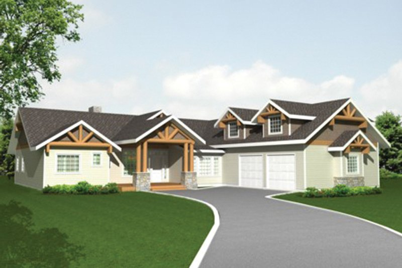 Ranch Exterior - Front Elevation Plan #117-850 - Houseplans.com