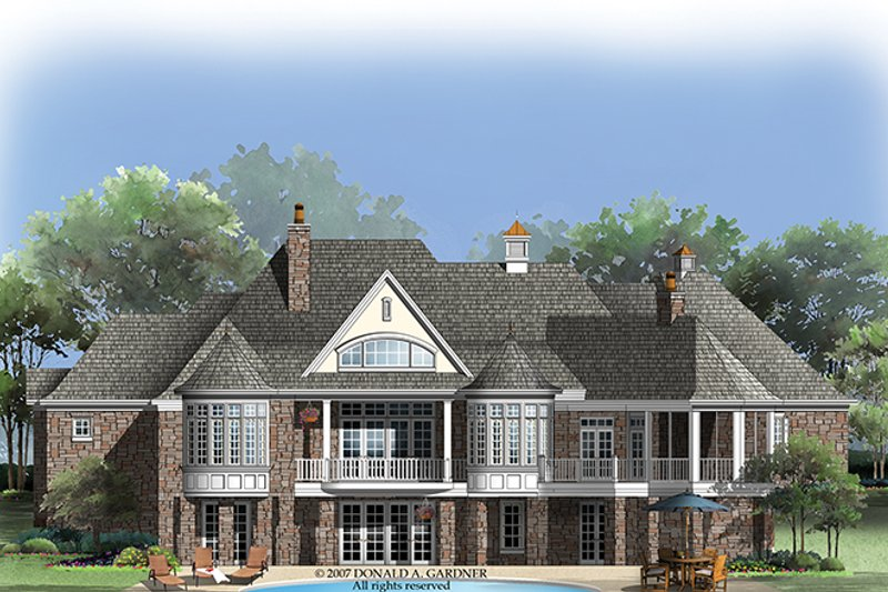 European Exterior - Rear Elevation Plan #929-912 - Houseplans.com