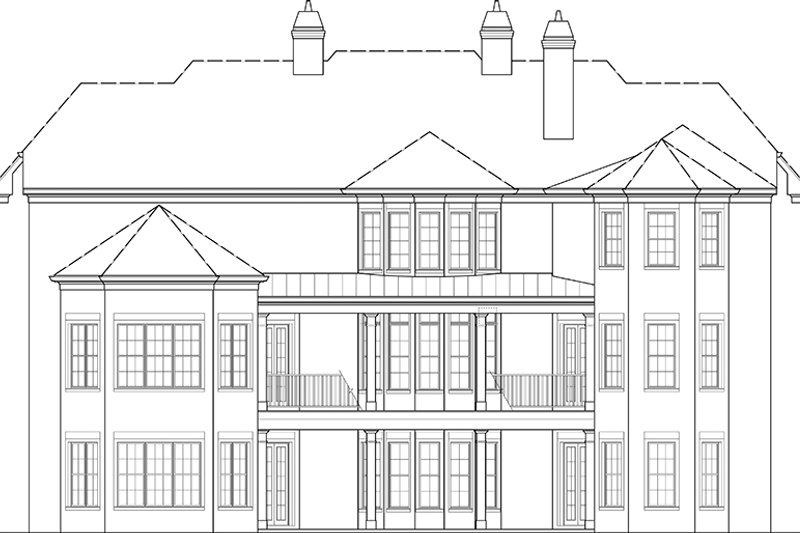 European Exterior - Rear Elevation Plan #119-423 - Houseplans.com