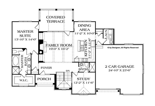 Architectural House Design - Country Floor Plan - Main Floor Plan #453-616