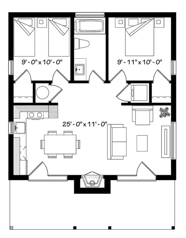 Contemporary Floor Plan - Main Floor Plan Plan #23-2605