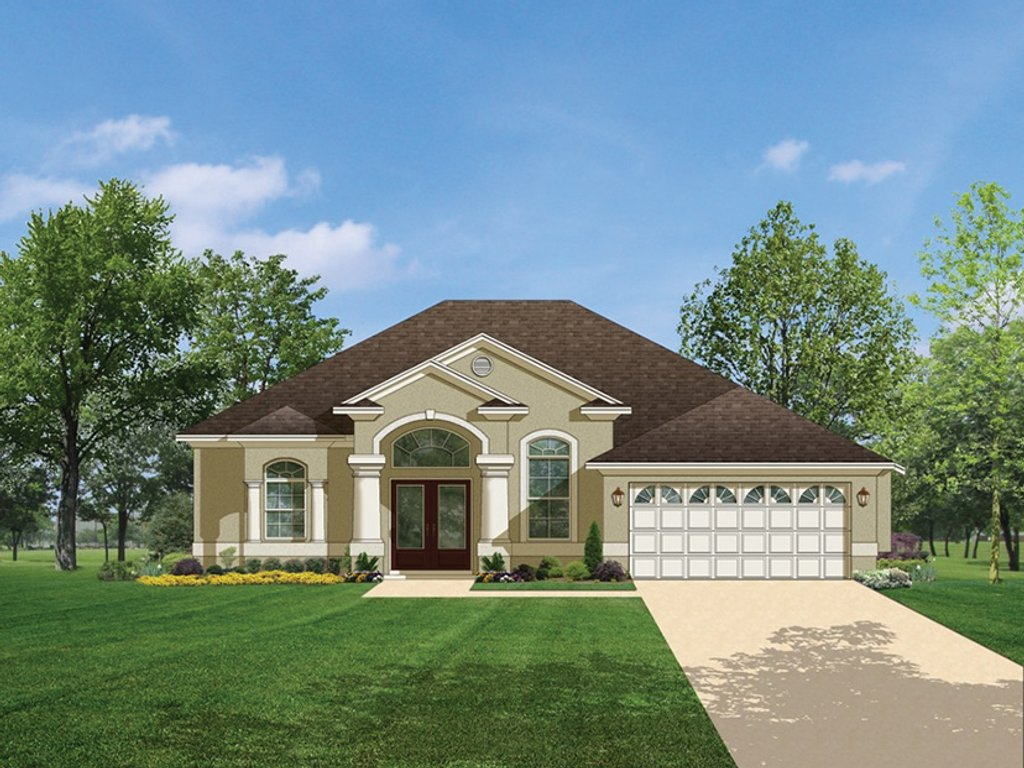 The Sater Design Collection Mediterranean Style House Plan 3 Beds 2 Baths 1623 Sq Ft