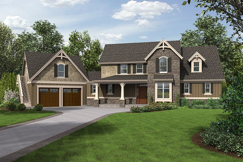 Craftsman Exterior - Front Elevation Plan #48-923