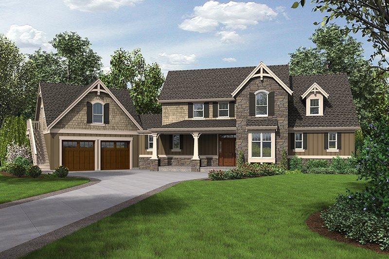 Craftsman Exterior - Front Elevation Plan #48-923