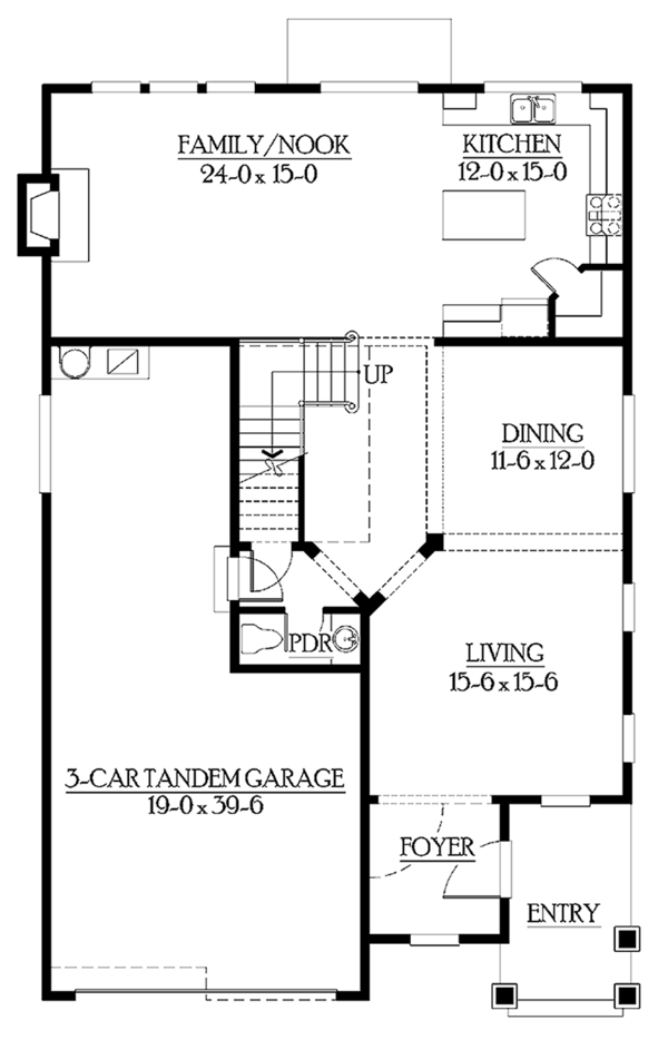 Craftsman Floor Plan - Main Floor Plan Plan #132-329
