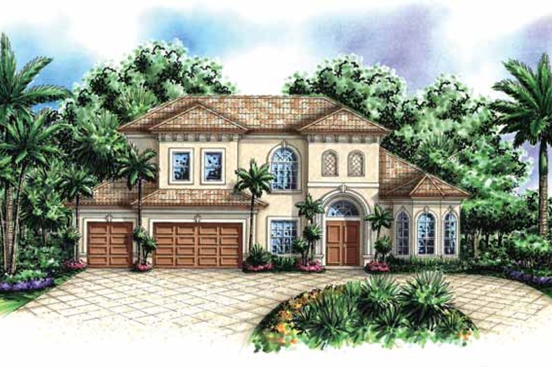 House Design - Mediterranean Exterior - Front Elevation Plan #1017-129