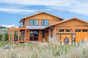 Prairie Style House Plan - 4 Beds 4 Baths 3742 Sq/Ft Plan #1042-17 Exterior - Front Elevation