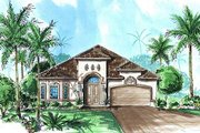 Mediterranean Style House Plan - 4 Beds 3 Baths 2457 Sq/Ft Plan #27-348 Exterior - Front Elevation