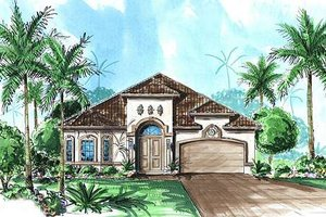 Mediterranean Exterior - Front Elevation Plan #27-348
