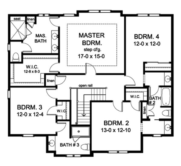 Colonial Floor Plan - Upper Floor Plan Plan #1010-170