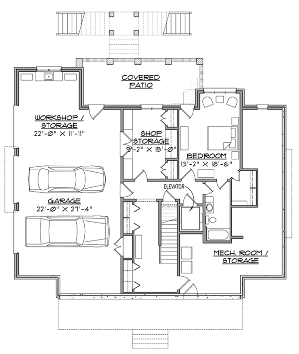Country Floor Plan - Lower Floor Plan Plan #1054-19