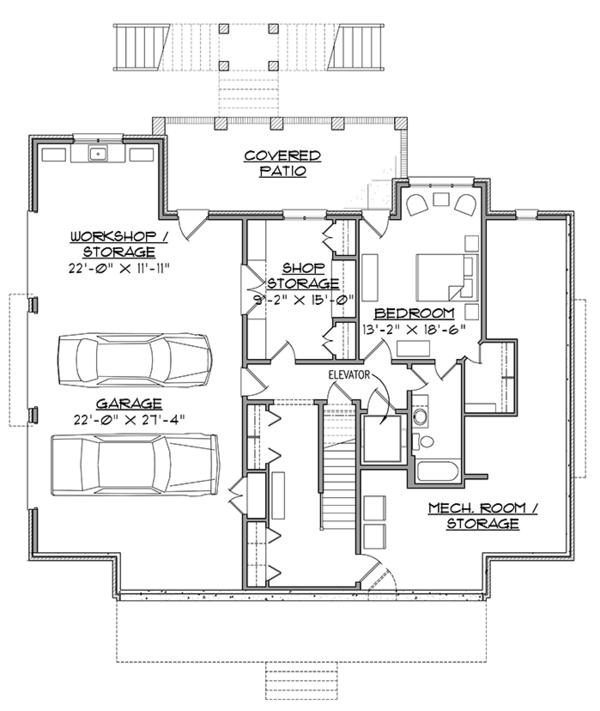 Southern Floor Plan - Lower Floor Plan Plan #1054-19
