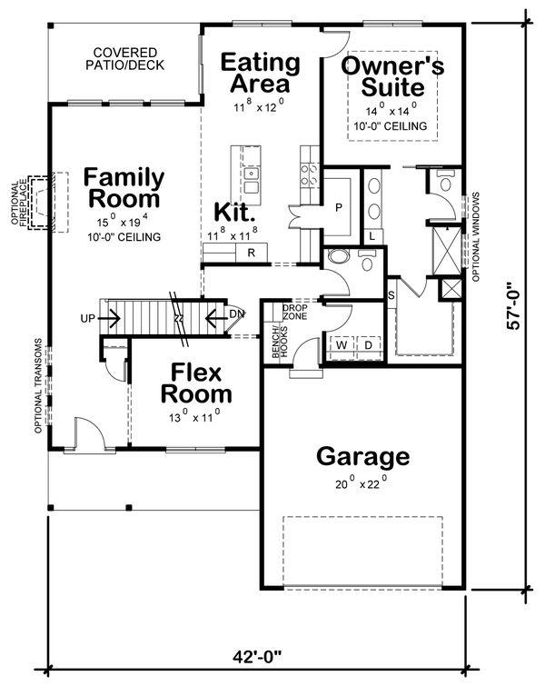 Architectural House Design - Traditional Floor Plan - Main Floor Plan #20-2394