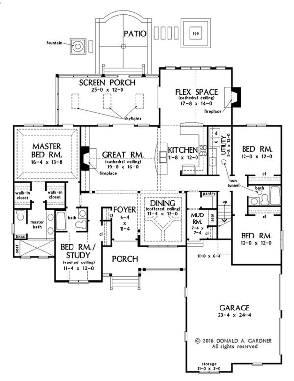 Architectural House Design - Ranch Floor Plan - Main Floor Plan #929-1018