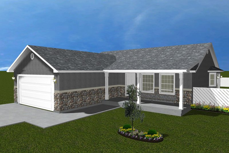 Ranch Exterior - Front Elevation Plan #1060-16 - Houseplans.com
