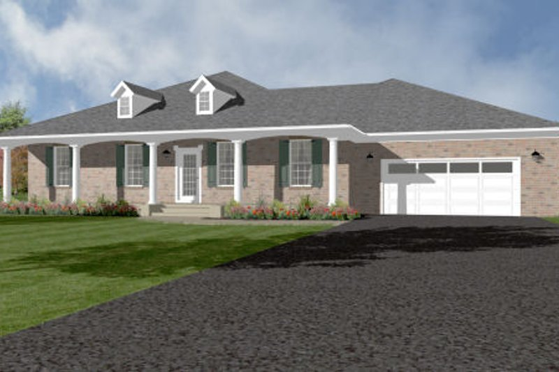 Ranch Style House Plan - 4 Beds 3 Baths 2492 Sq/Ft Plan #14-245 Exterior - Front Elevation