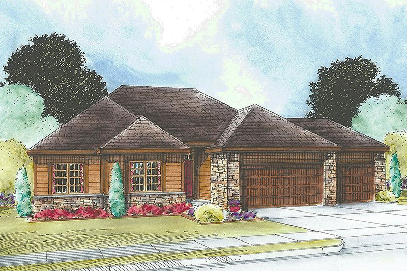 Ranch Exterior - Front Elevation Plan #20-2296
