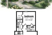 House Plan Design - 559sft tiny beach cottage 1bed 1bath plan 45-334