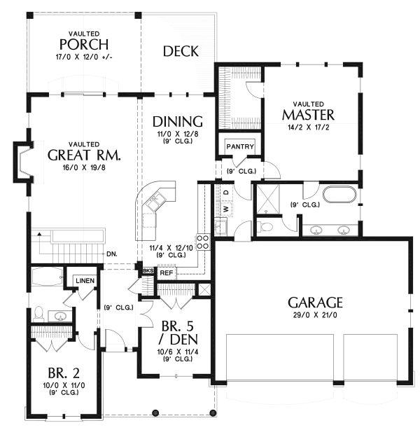 Architectural House Design - Cottage Floor Plan - Main Floor Plan #48-969