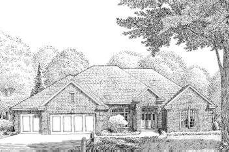 Traditional Style House Plan - 4 Beds 3 Baths 2675 Sq/Ft Plan #310-206 Exterior - Front Elevation