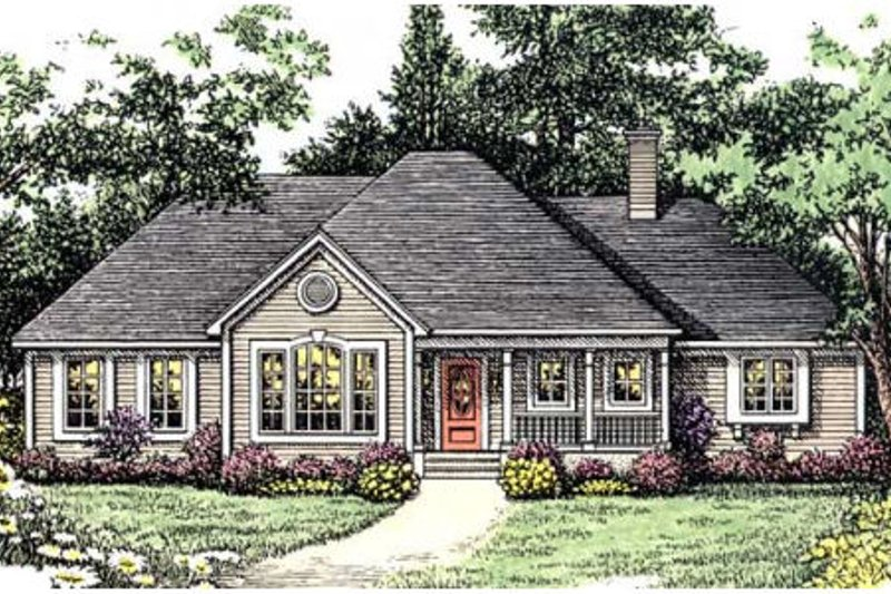 Southern Style House Plan - 4 Beds 3 Baths 2035 Sq/Ft Plan #406-231 Exterior - Front Elevation