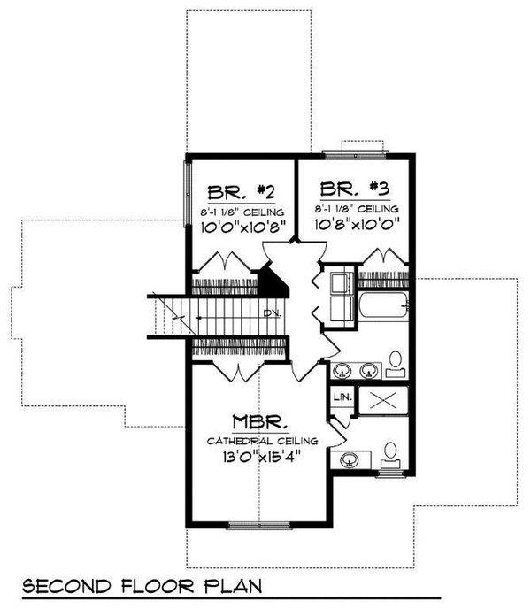 Traditional Floor Plan - Upper Floor Plan Plan #70-725