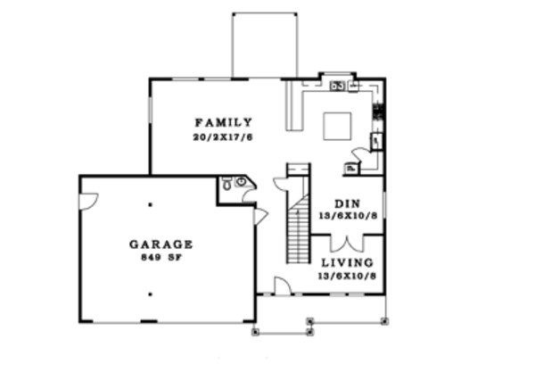 Craftsman Floor Plan - Main Floor Plan Plan #943-36
