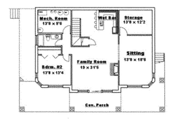 Craftsman Floor Plan - Lower Floor Plan Plan #117-841