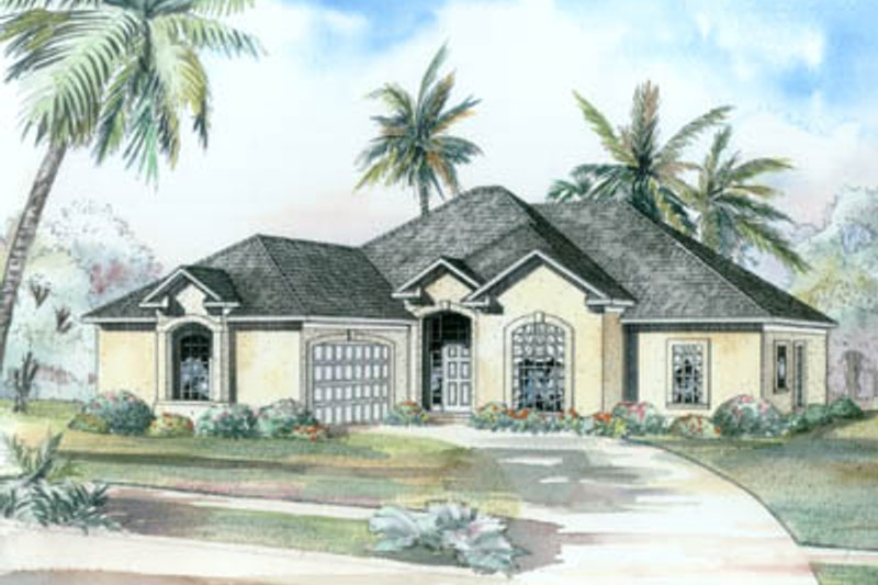 Mediterranean Style House Plan - 3 Beds 2 Baths 2056 Sq/Ft Plan #17-1132 Exterior - Front Elevation