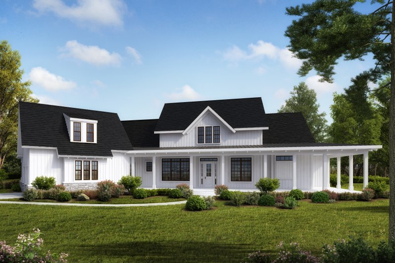 House Plan Design - Farmhouse Exterior - Front Elevation Plan #54-390