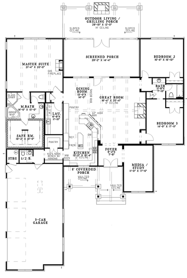 Ranch Floor Plan - Main Floor Plan Plan #17-3367