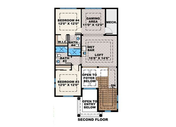 Mediterranean Floor Plan - Upper Floor Plan Plan #27-562