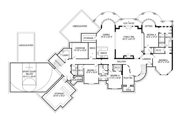 European Floor Plan - Lower Floor Plan Plan #920-63