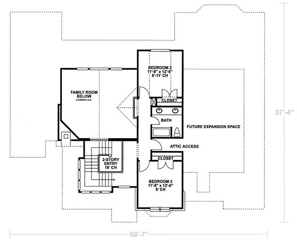 House Design - European Floor Plan - Upper Floor Plan #20-967