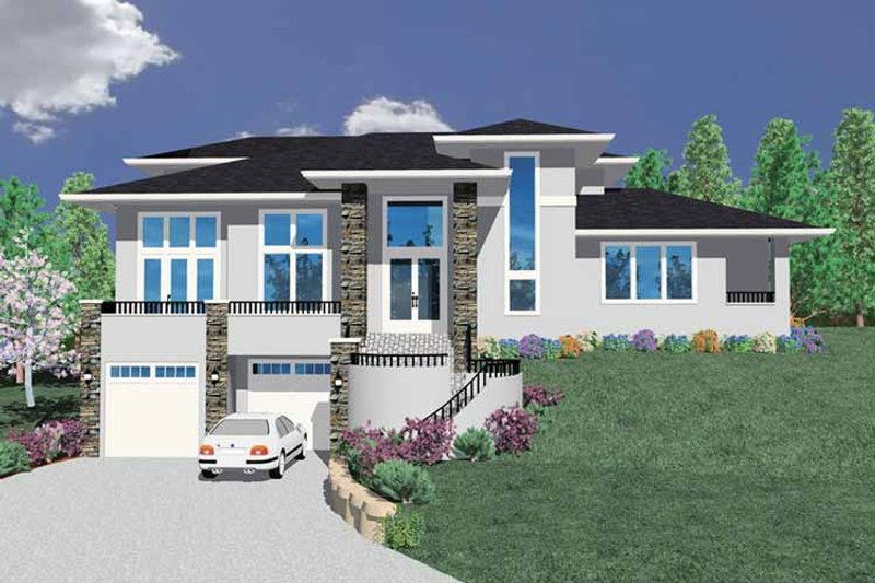 Prairie Exterior - Front Elevation Plan #509-422 - Houseplans.com