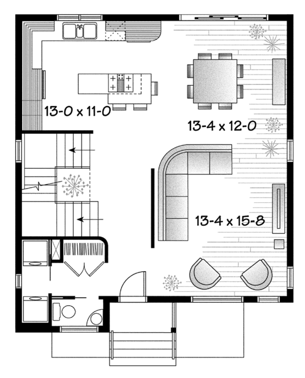 Contemporary Floor Plan - Main Floor Plan Plan #23-2583