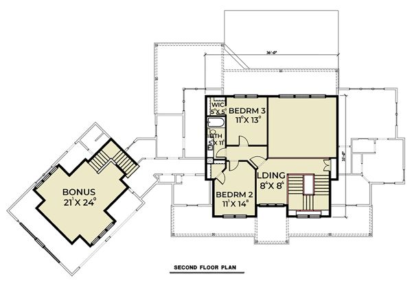 Farmhouse Floor Plan - Upper Floor Plan Plan #1070-39