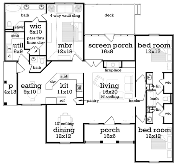Floor Plan - Main Floor Plan Plan #45-570