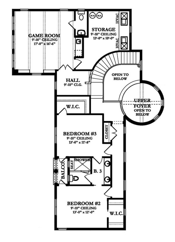 Mediterranean Floor Plan - Upper Floor Plan Plan #1058-15