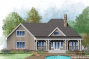 Ranch Style House Plan - 3 Beds 2 Baths 1914 Sq/Ft Plan #929-1011 Exterior - Rear Elevation