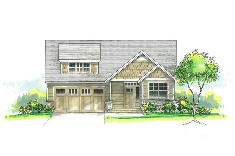 Architectural House Design - Craftsman Exterior - Front Elevation Plan #53-584